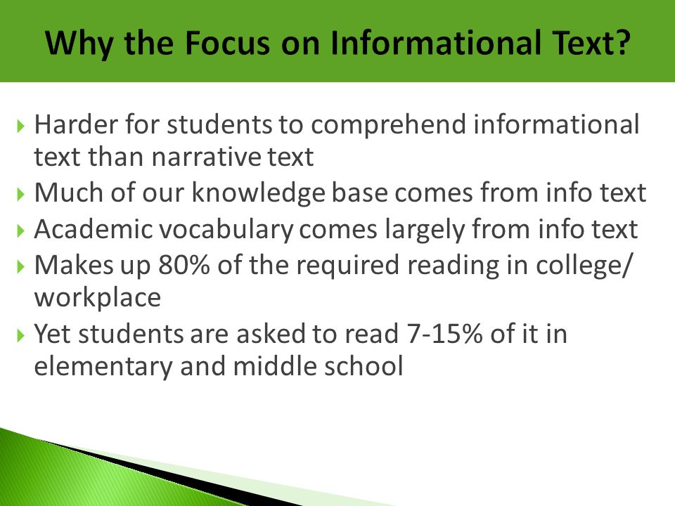 Why the Focus on Informational Text