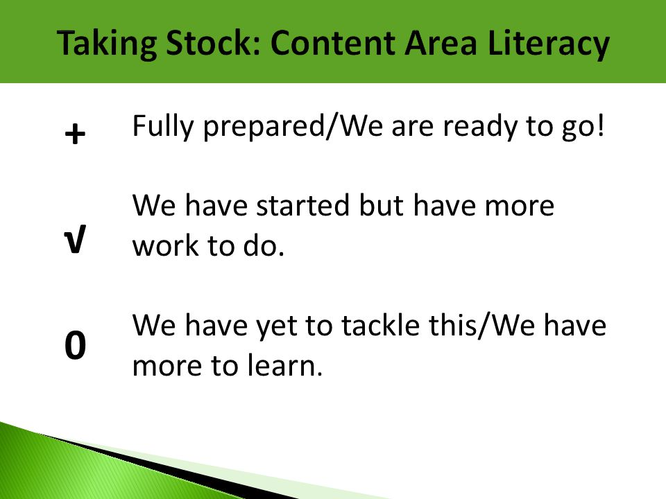 Taking Stock: Content Area Literacy