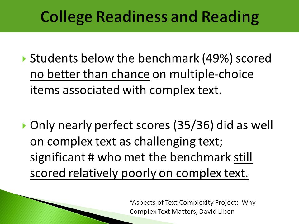 College Readiness and Reading
