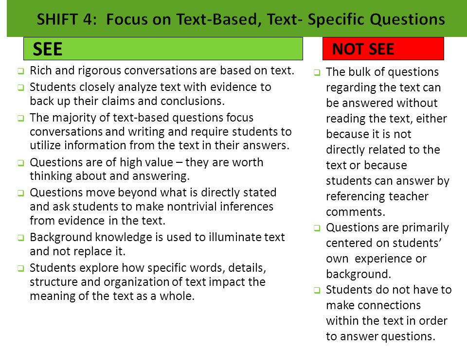 SHIFT 4: Focus on Text-Based, Text- Specific Questions
