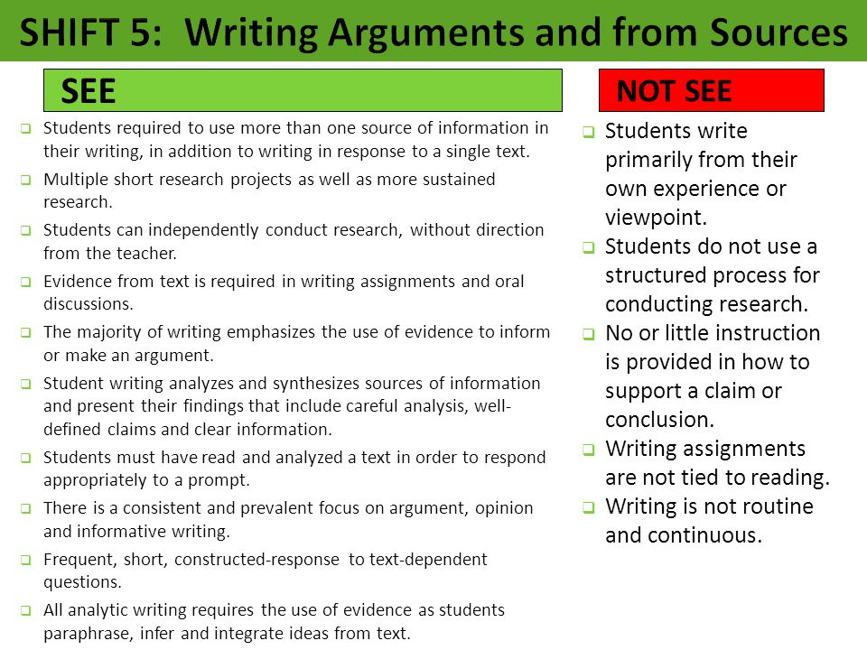 SHIFT 5: Writing Arguments and from Sources