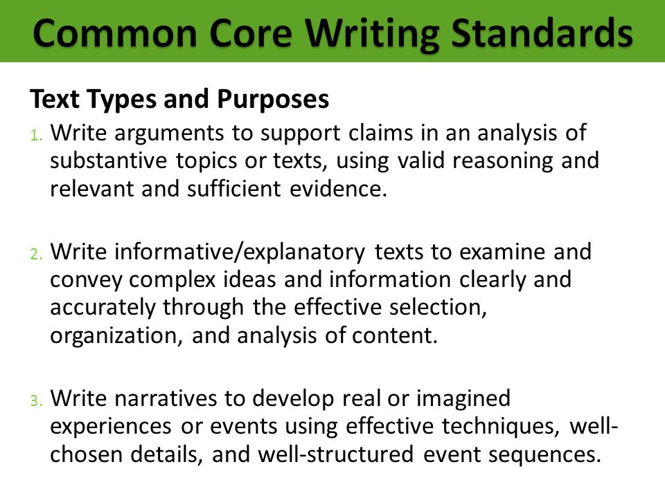 Common Core Writing Standards