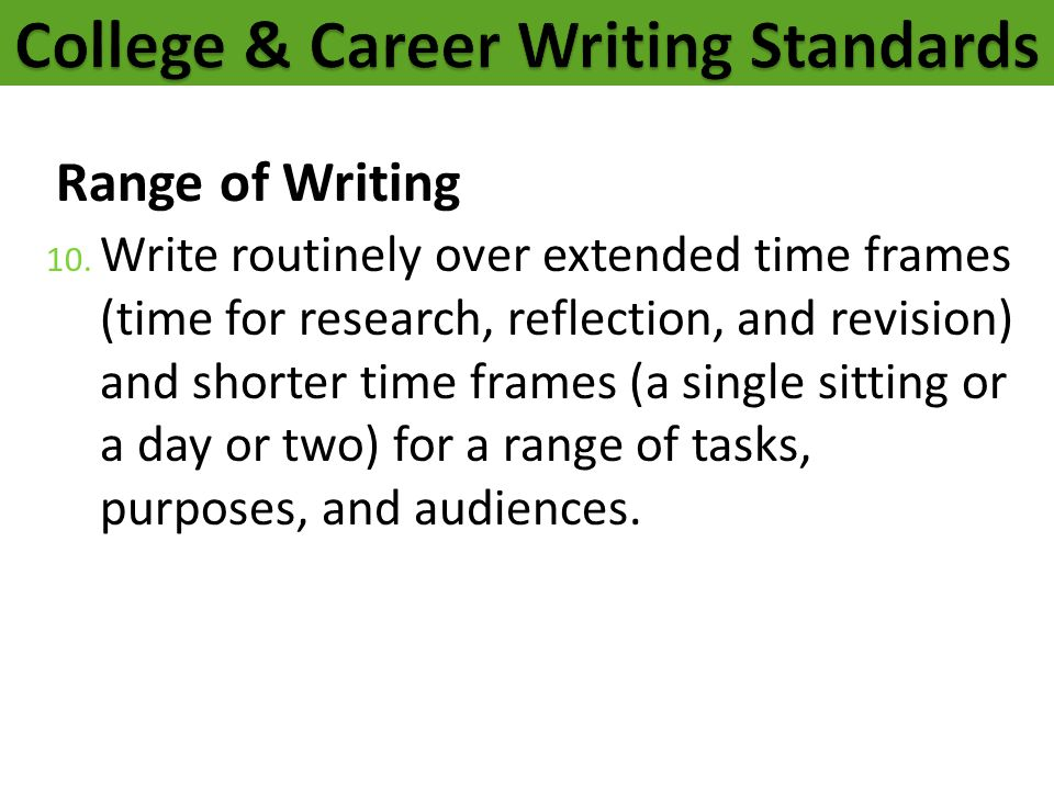 College & Career Writing Standards