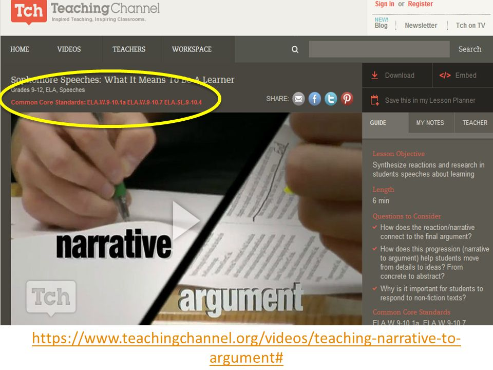 In this video, Sarah Brown Wessling (Iowa Teacher of the Year/National Teacher of the Year) demonstrates the difference between narrative and argumentative writing. Note that all of the videos from the Teaching Channel are keyed to the Common Core!