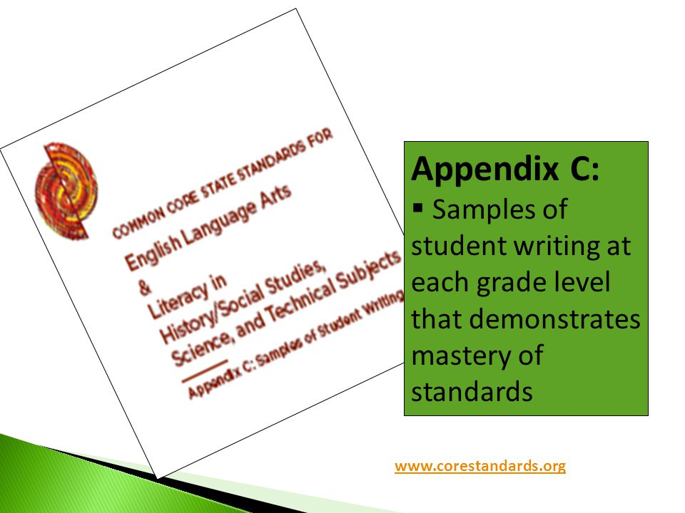 Appendix C: Samples of student writing at each grade level that demonstrates mastery of standards. Another great resource!