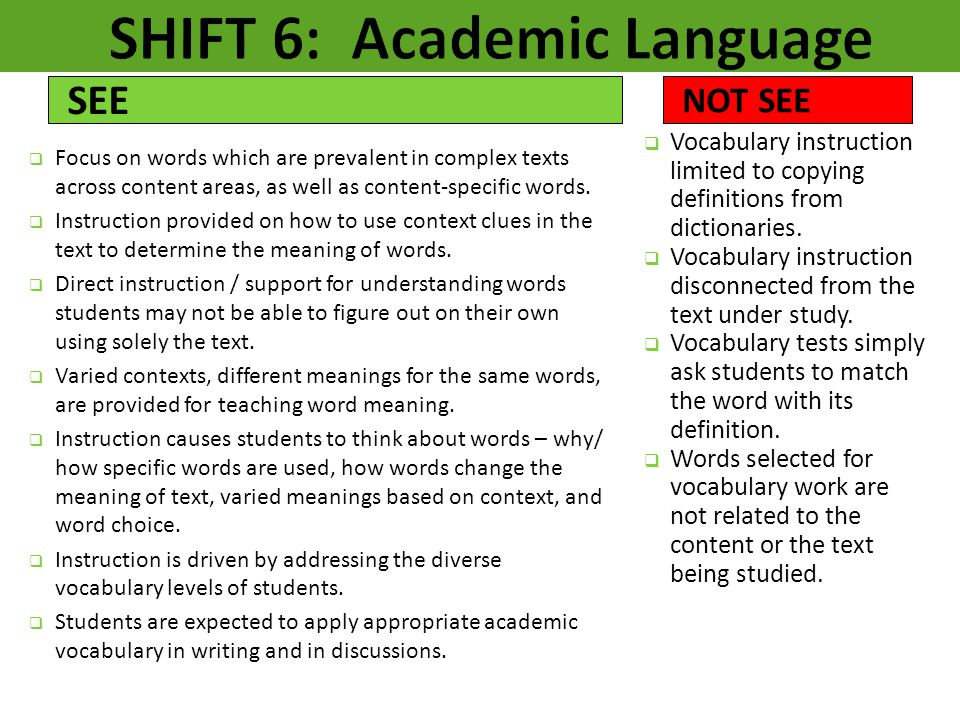 SHIFT 6: Academic Language