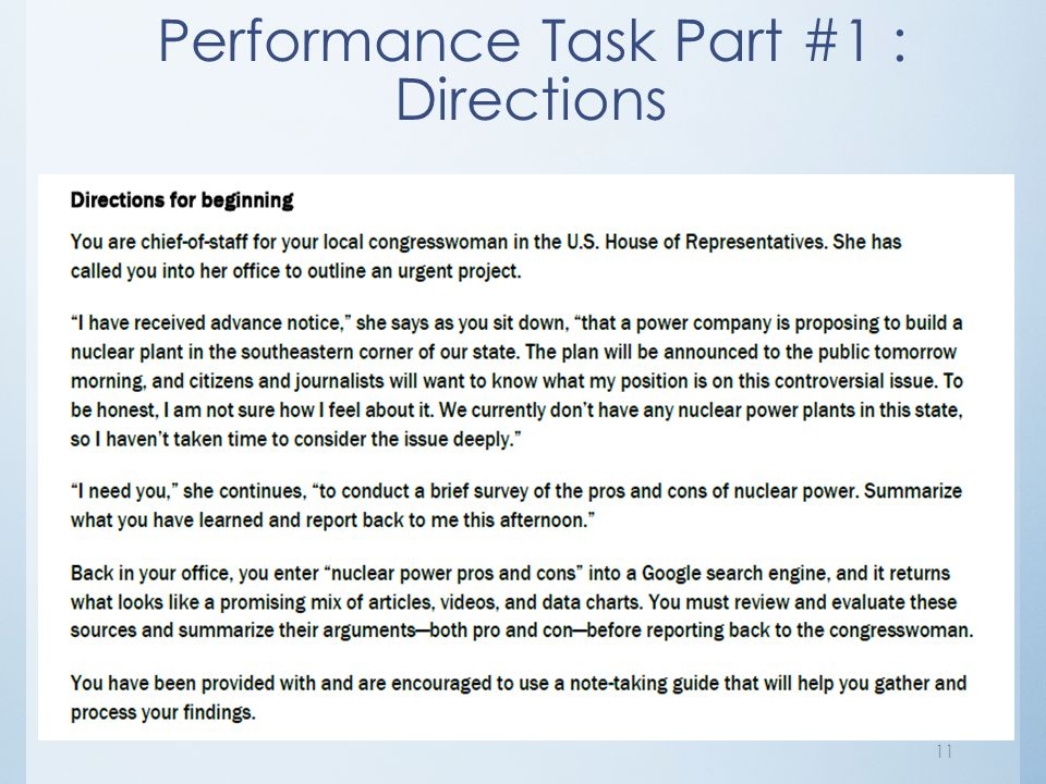 Performance Task Part #1 : Directions