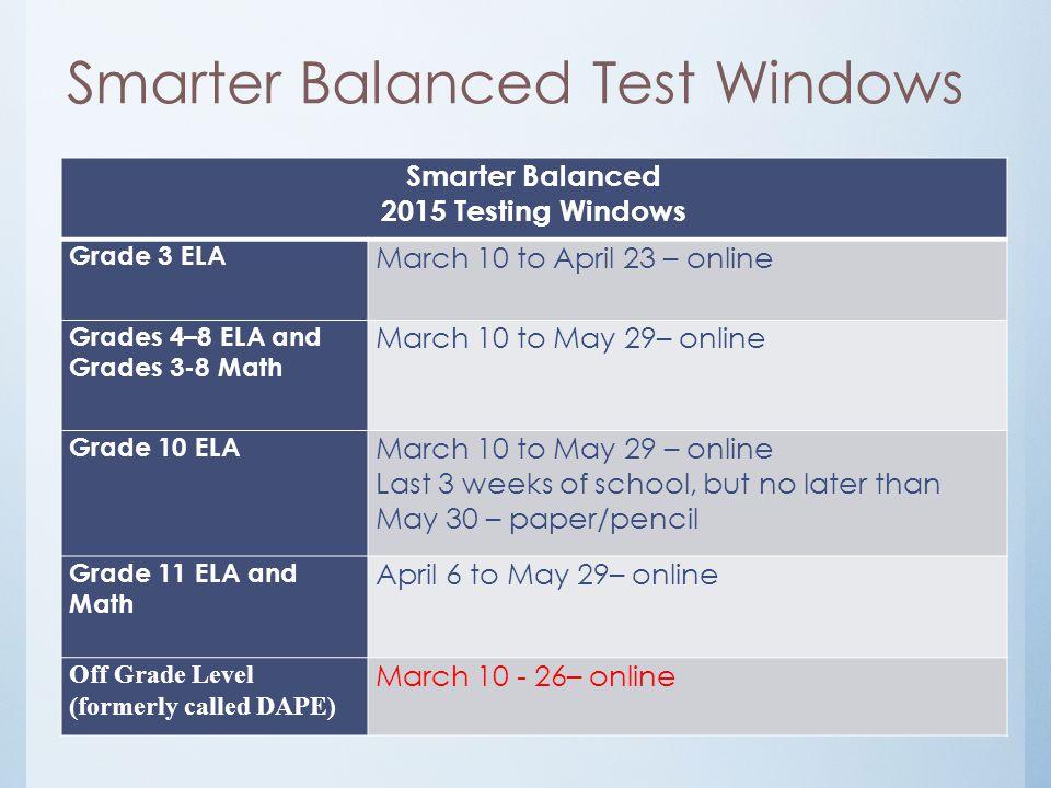 Smarter Balanced Test Windows