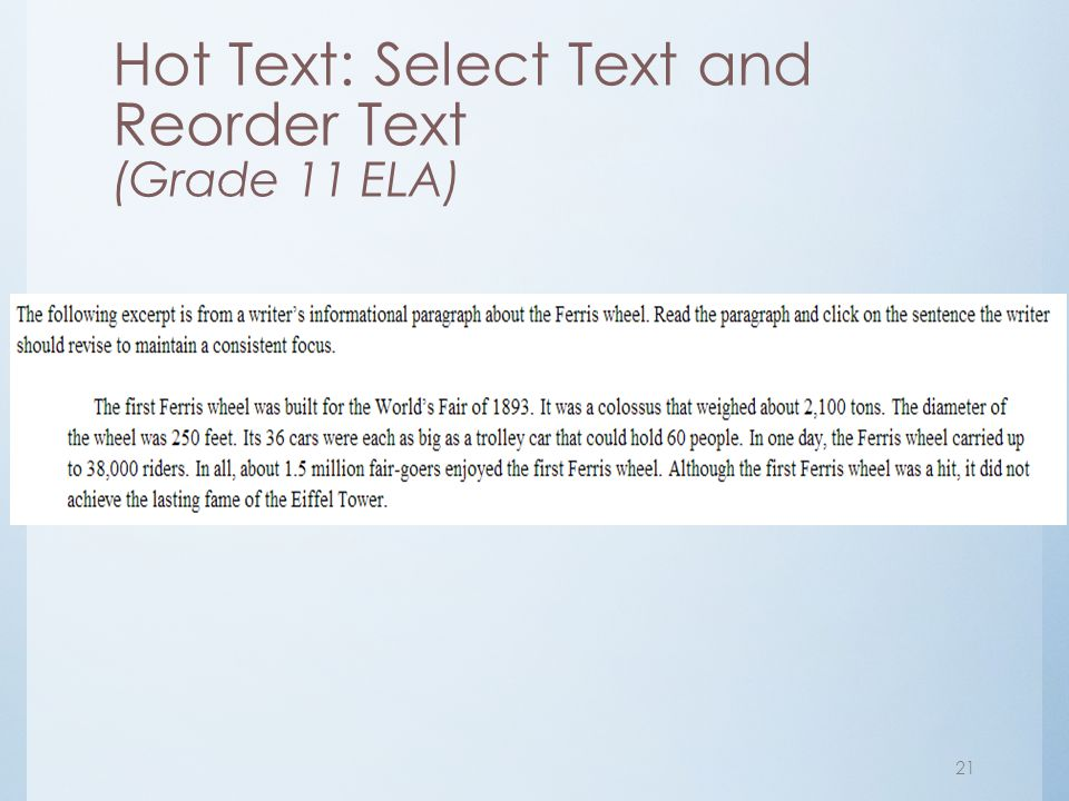 Hot Text: Select Text and Reorder Text (Grade 11 ELA)