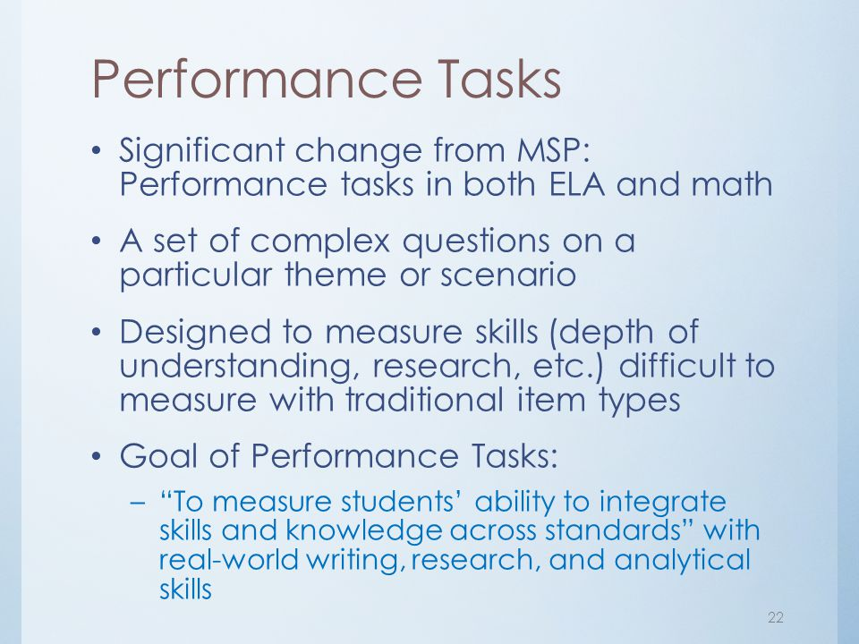 Performance Tasks Significant change from MSP: Performance tasks in both ELA and math.
