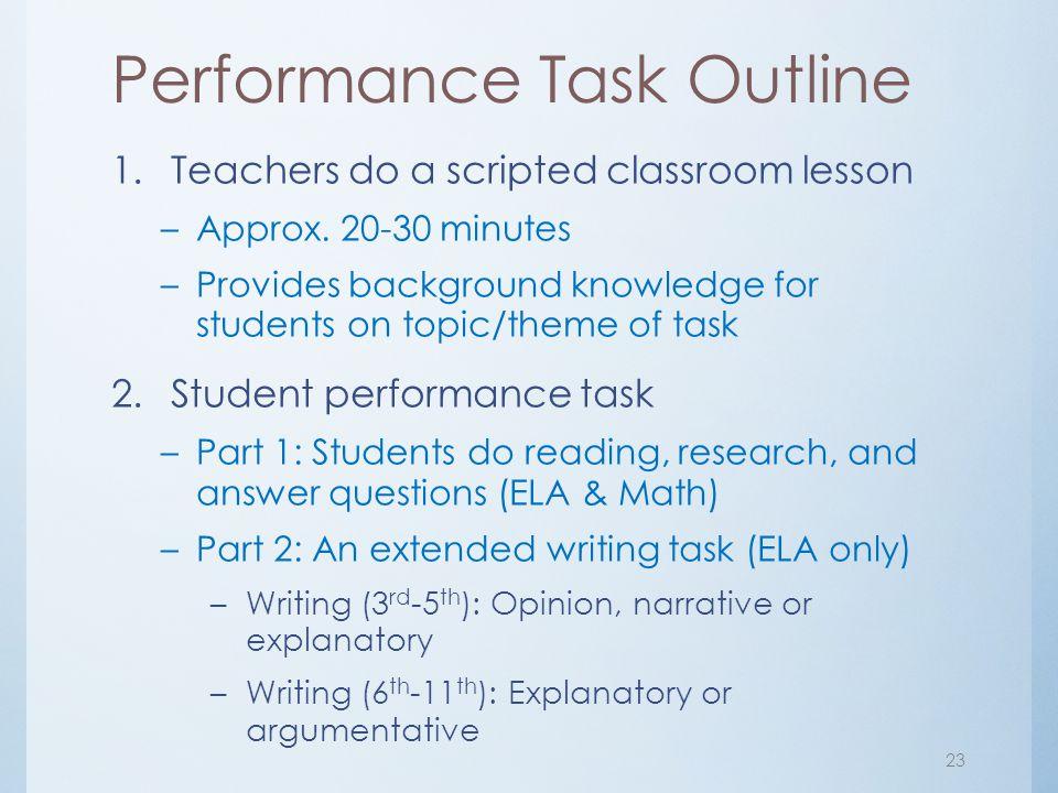 Performance Task Outline