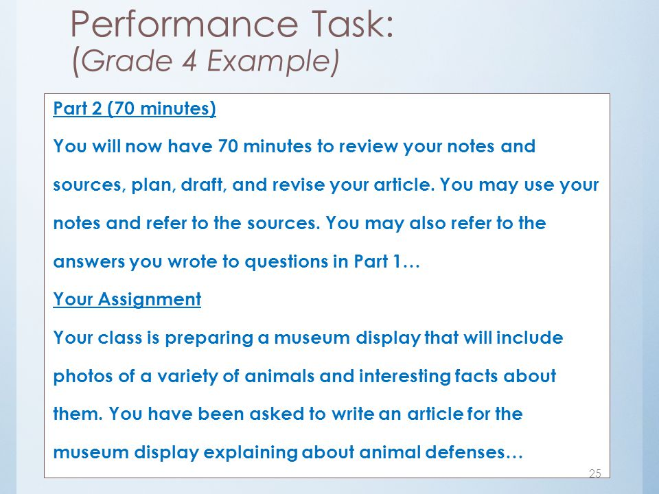 Performance Task: (Grade 4 Example)