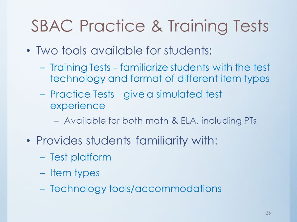 SBAC Practice & Training Tests