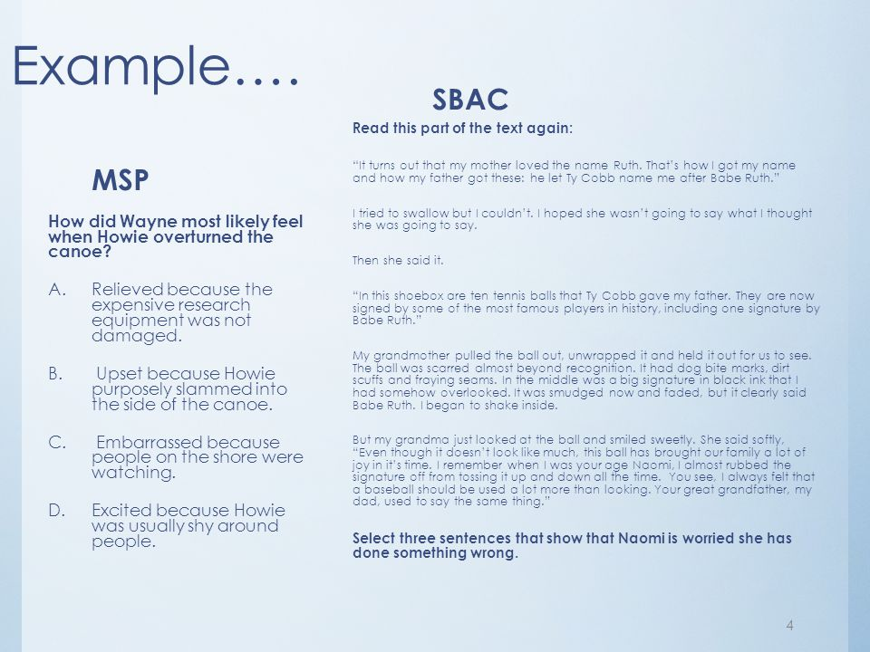 Example…. SBAC. Read this part of the text again: