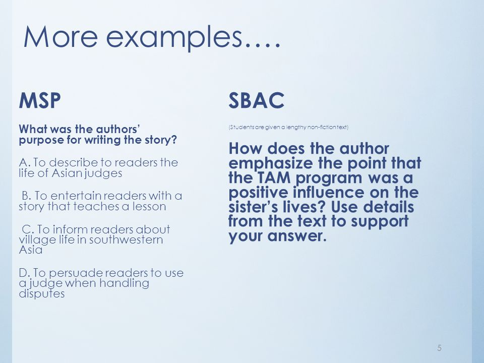 More examples…. MSP SBAC