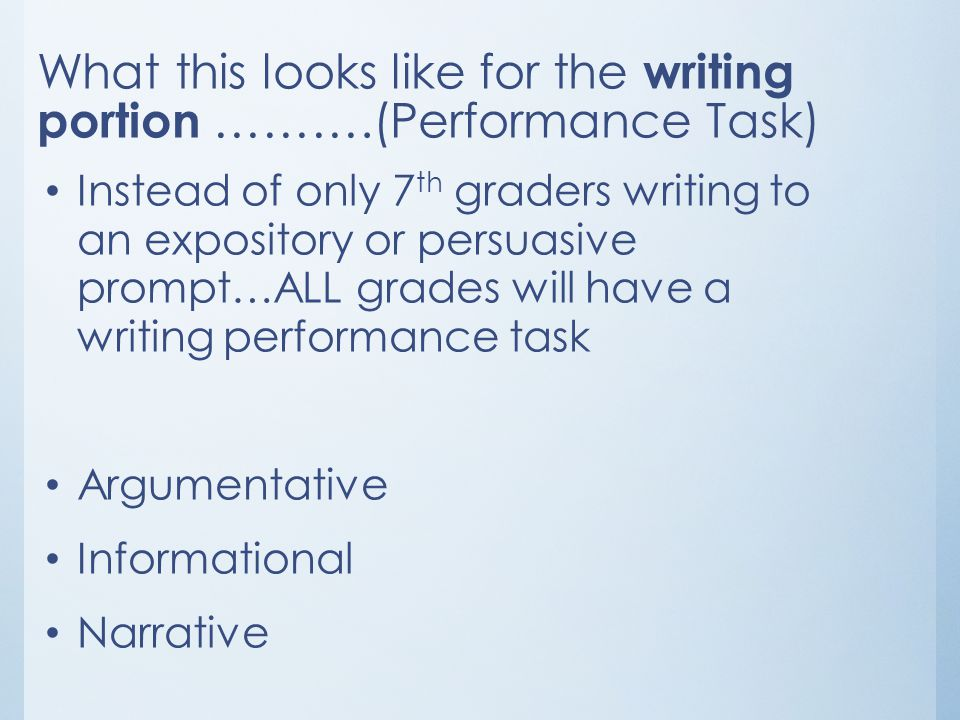 What this looks like for the writing portion ……….(Performance Task)