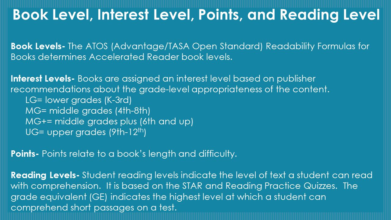 Book Level, Interest Level, Points, and Reading Level