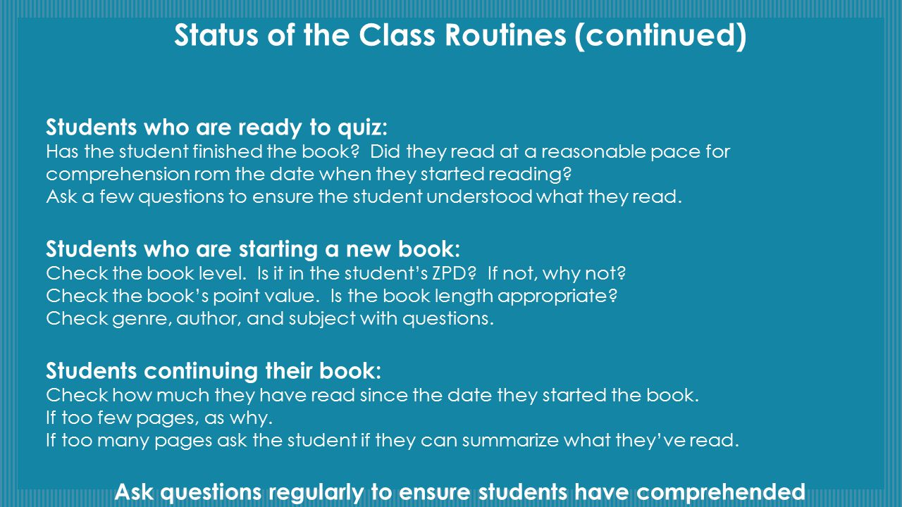 Status of the Class Routines (continued)