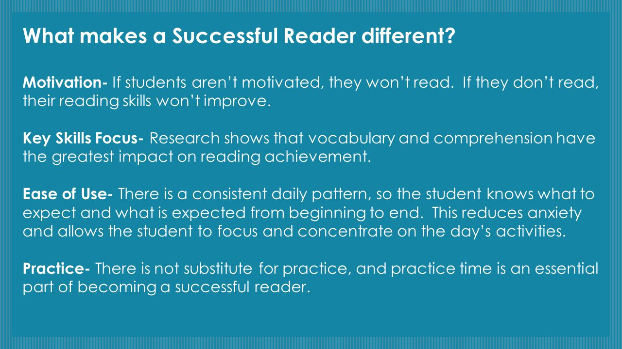 What makes a Successful Reader different