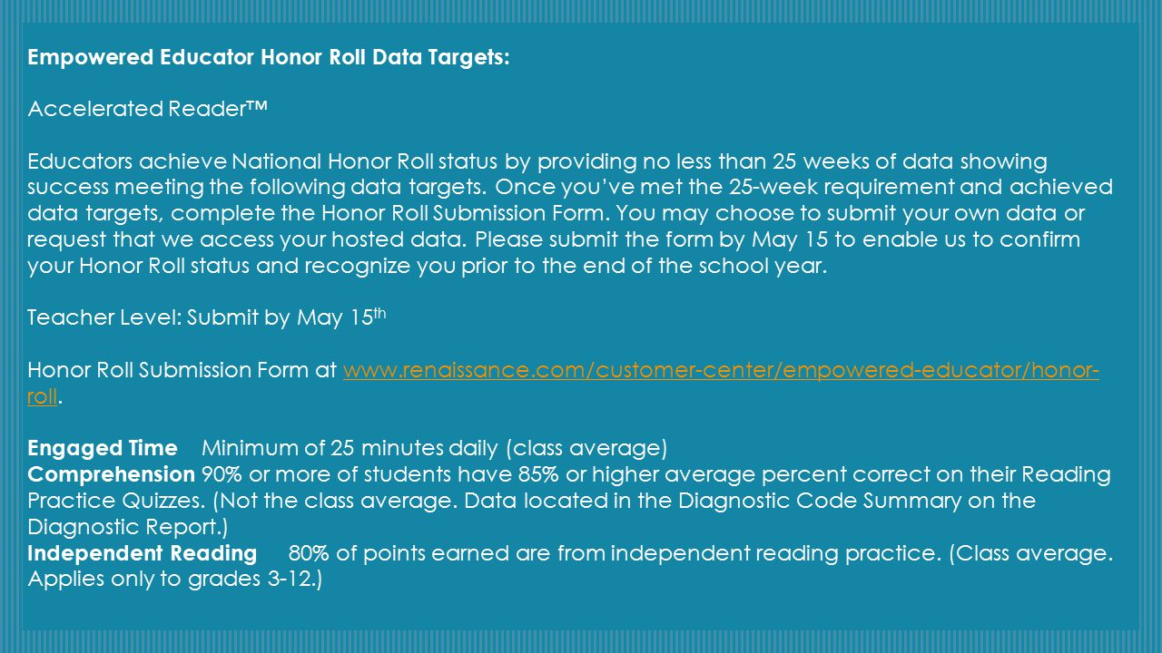 Empowered Educator Honor Roll Data Targets: