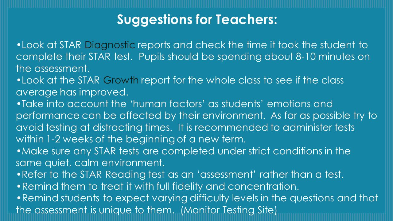 Suggestions for Teachers: