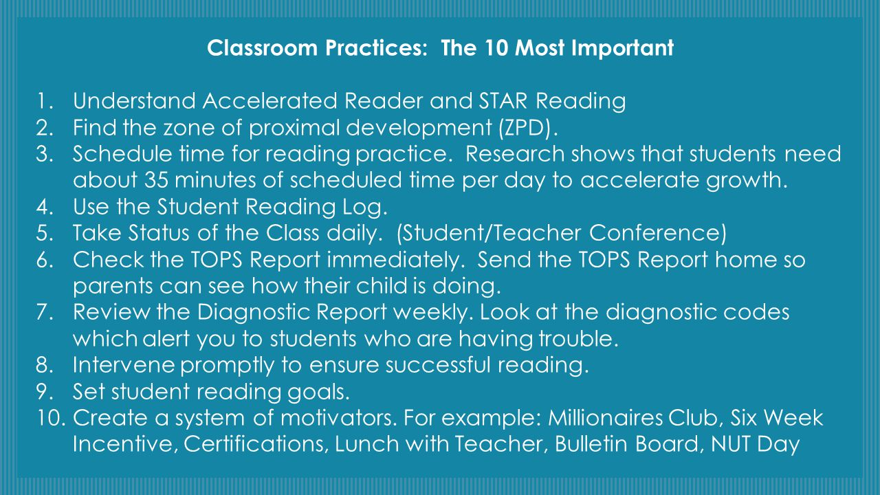 Classroom Practices: The 10 Most Important