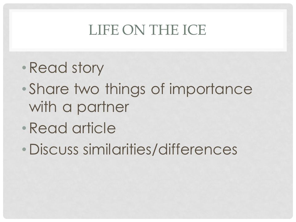 Share two things of importance with a partner Read article