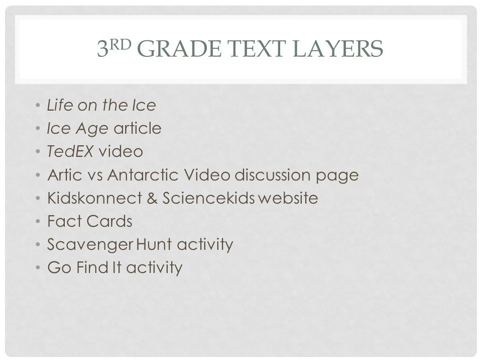 3rd grade Text Layers Life on the Ice Ice Age article TedEX video