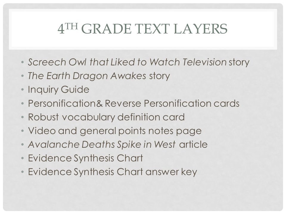 4th grade Text Layers Screech Owl that Liked to Watch Television story