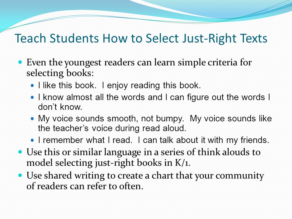 Teach Students How to Select Just-Right Texts