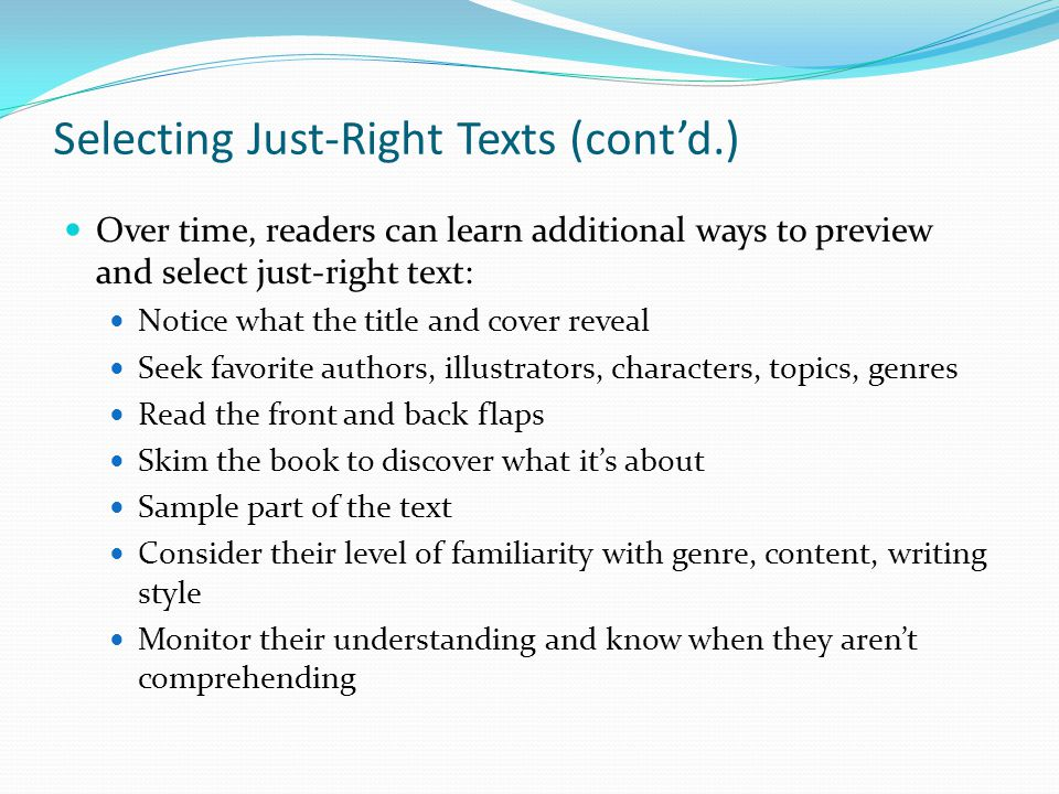 Selecting Just-Right Texts (cont'd.)