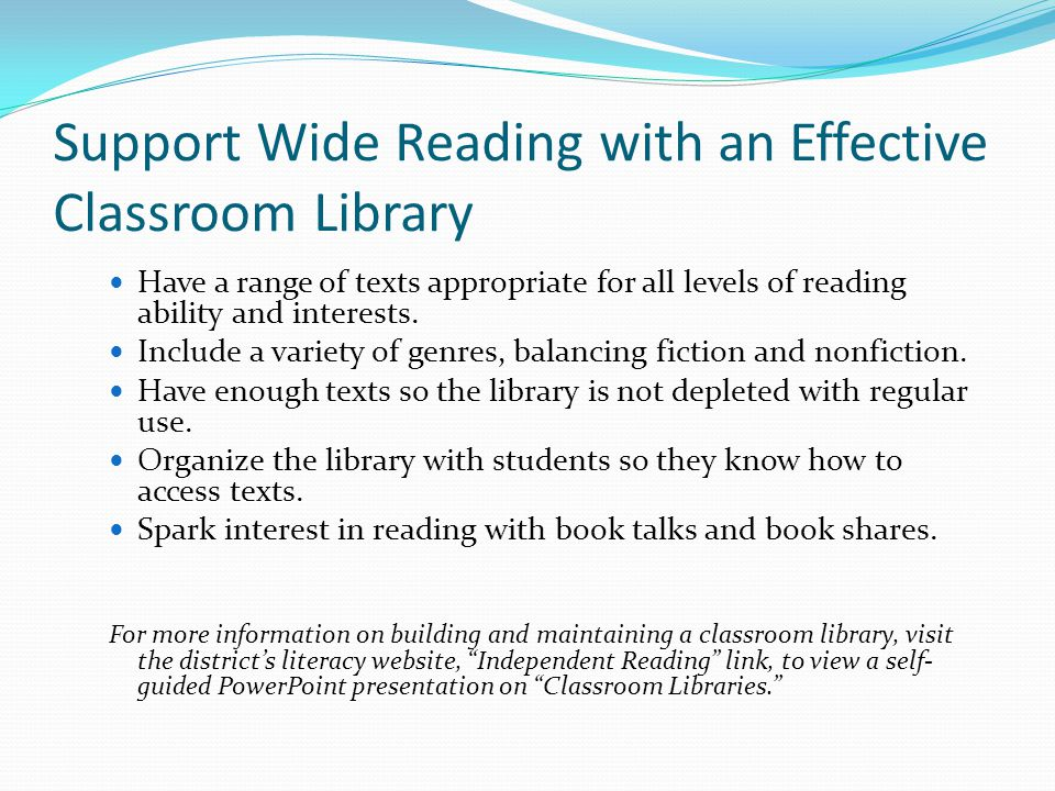 Support Wide Reading with an Effective Classroom Library