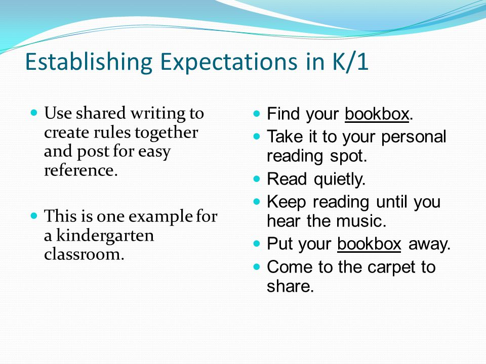 Establishing Expectations in K/1