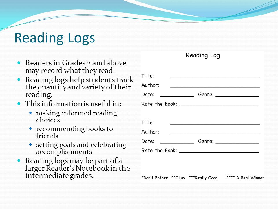 Reading Logs Readers in Grades 2 and above may record what they read.