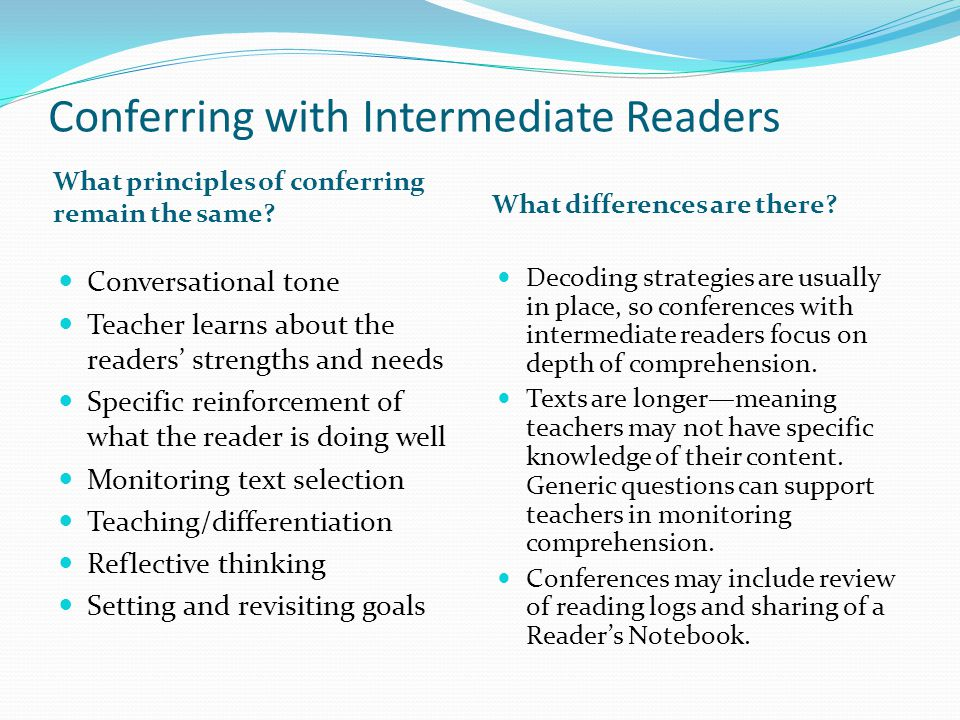 Conferring with Intermediate Readers