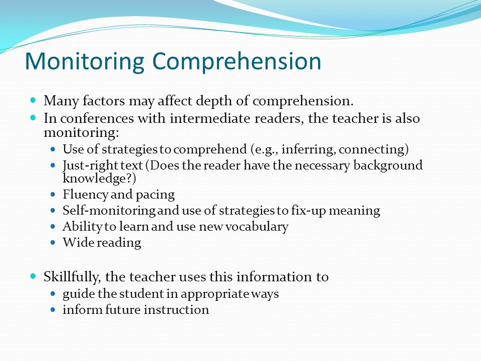 Monitoring Comprehension