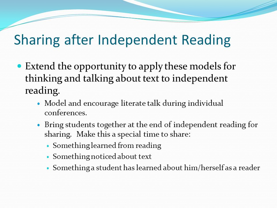 Sharing after Independent Reading