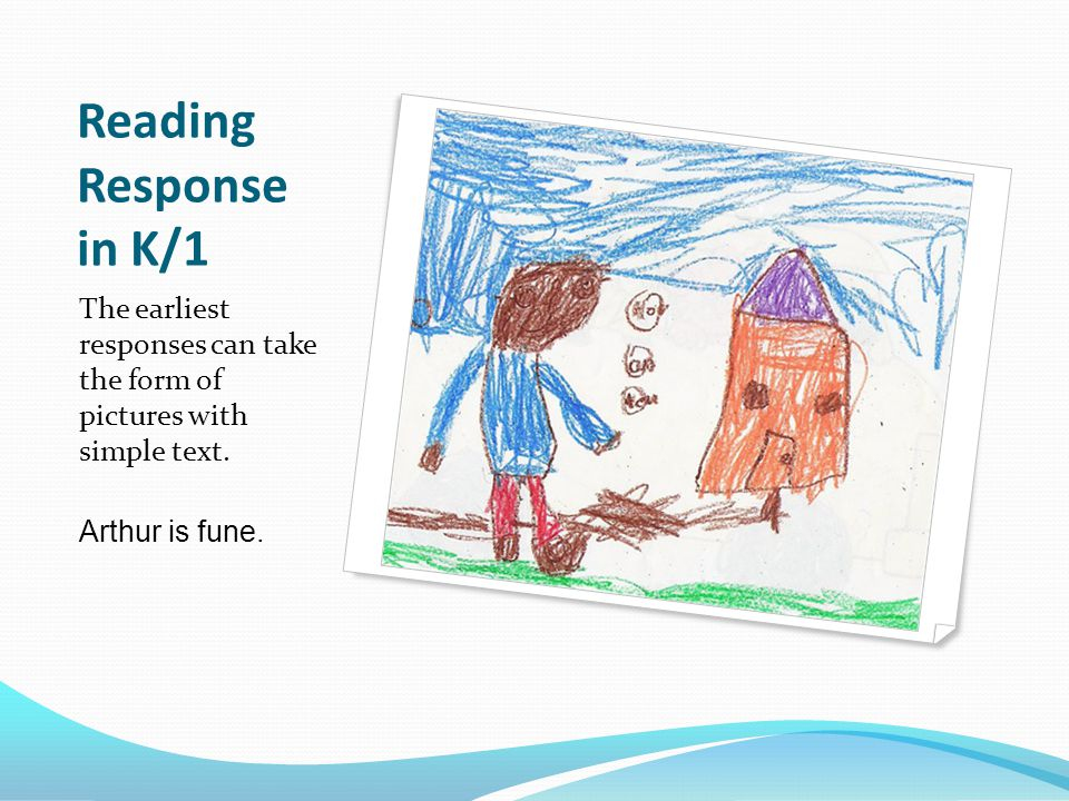 Reading Response in K/1 The earliest responses can take the form of pictures with simple text.