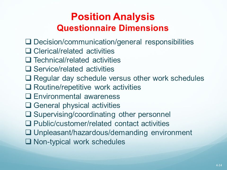Position Analysis Questionnaire Dimensions