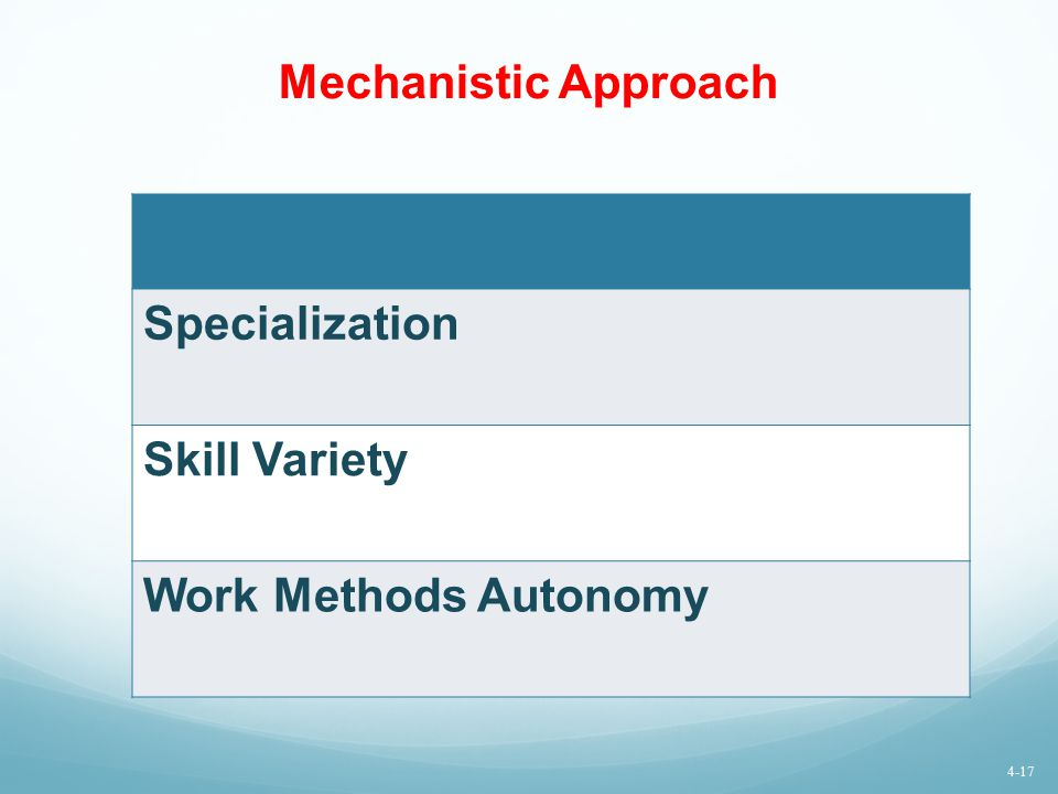 Mechanistic Approach Specialization Skill Variety