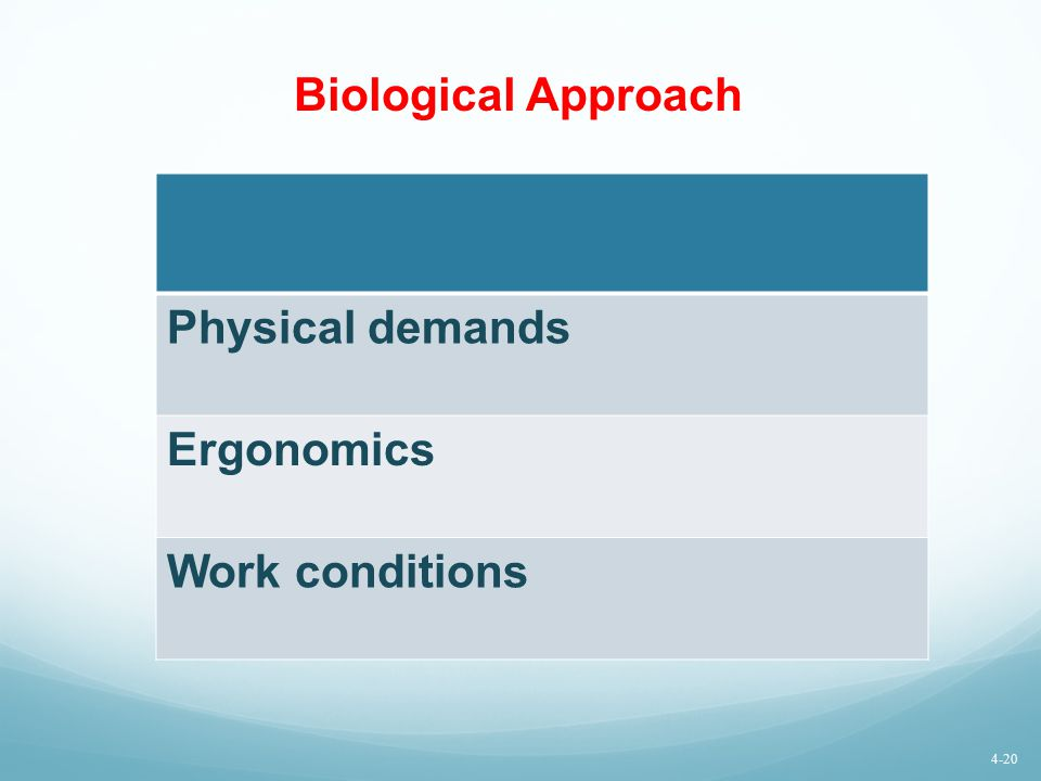 Biological Approach Physical demands Ergonomics Work conditions 4-20
