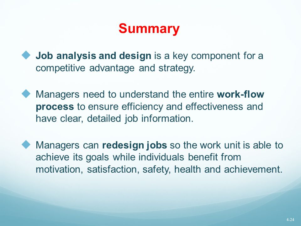 Summary Job analysis and design is a key component for a competitive advantage and strategy.