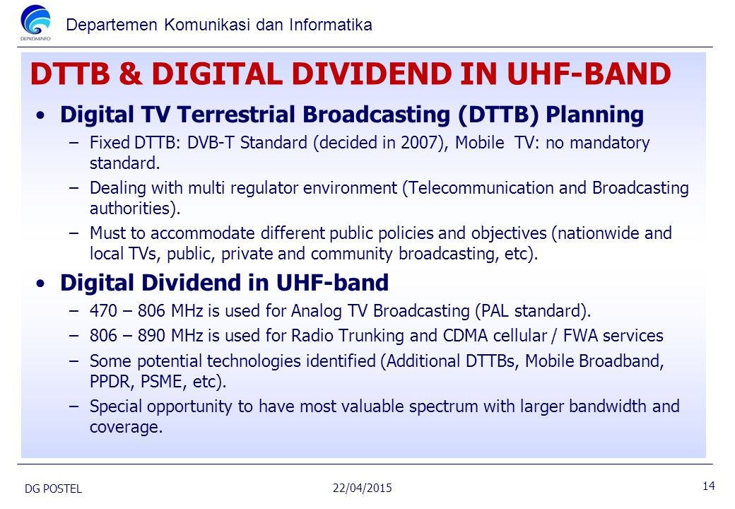 DTTB & DIGITAL DIVIDEND IN UHF-BAND