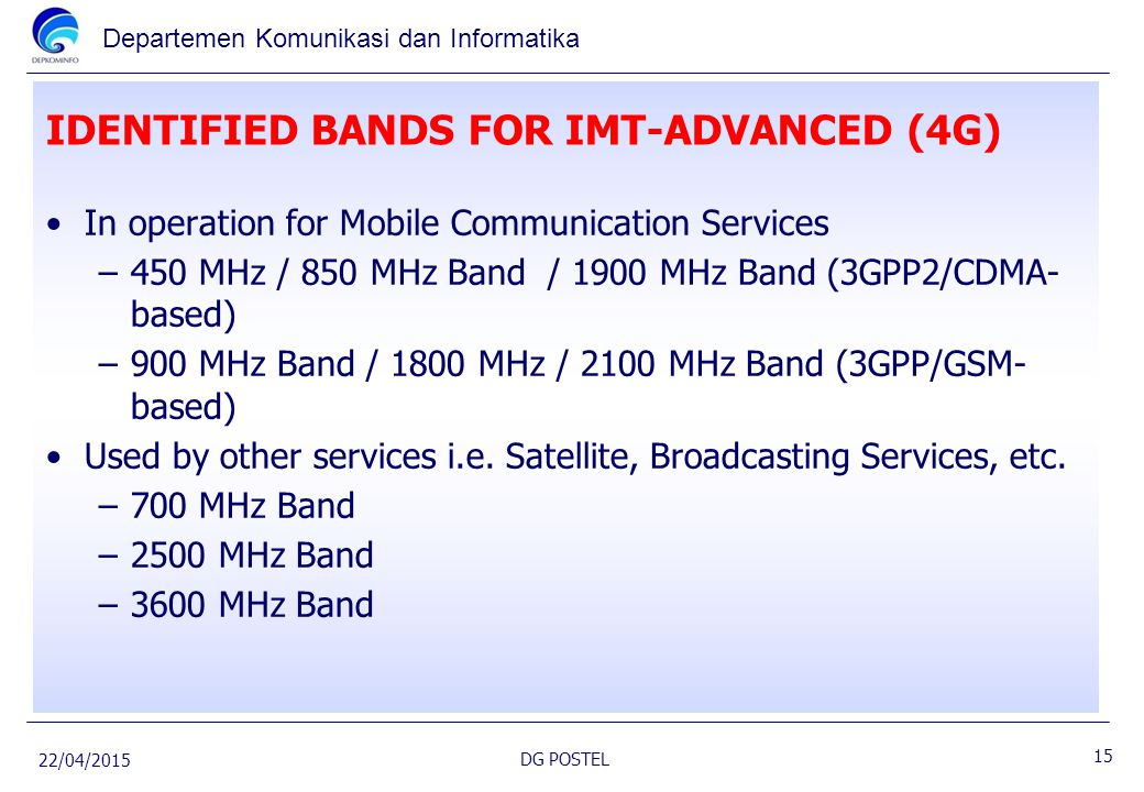 IDENTIFIED BANDS FOR IMT-ADVANCED (4G)