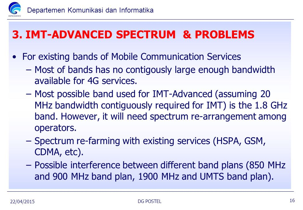 3. IMT-ADVANCED SPECTRUM & PROBLEMS