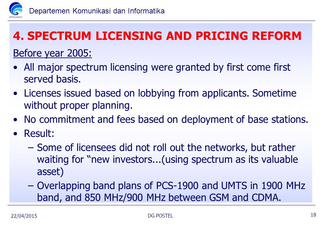 4. SPECTRUM LICENSING AND PRICING REFORM