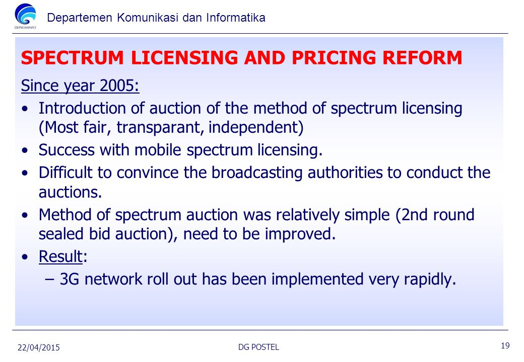 SPECTRUM LICENSING AND PRICING REFORM