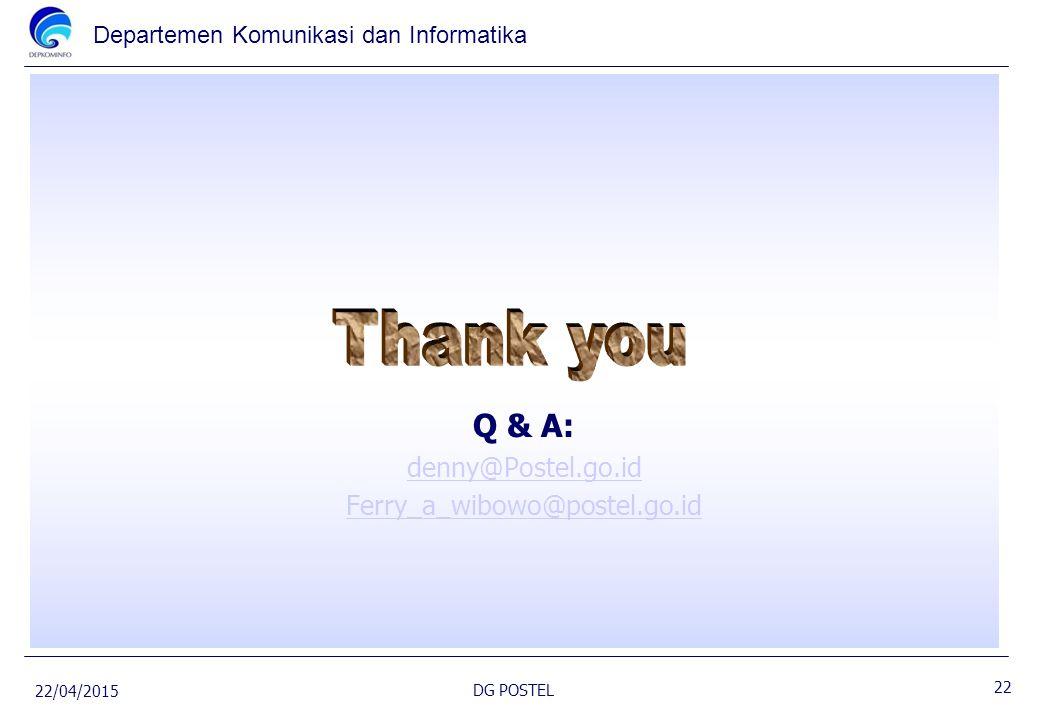 Q & A: denny@Postel.go.id Ferry_a_wibowo@postel.go.id