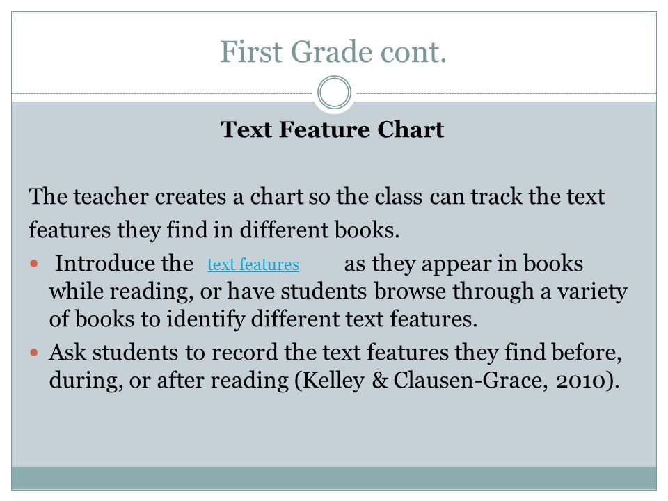 First Grade cont. Text Feature Chart