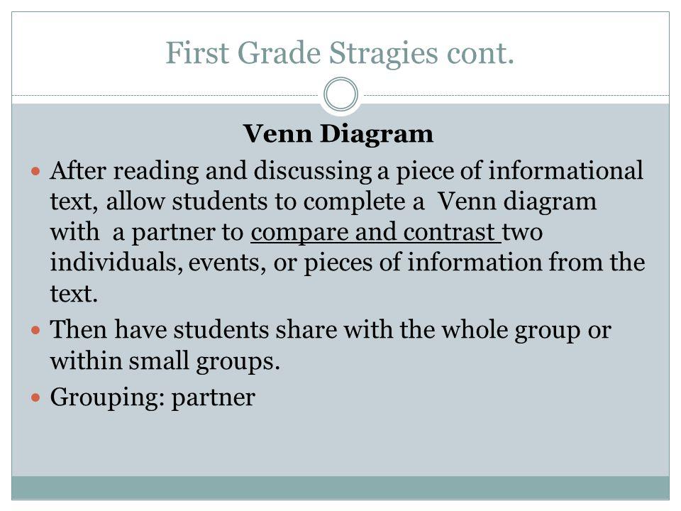 First Grade Stragies cont.